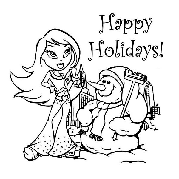 A Young Girl and Mr Snowman Says Happy Winter Season Holidays Coloring Page