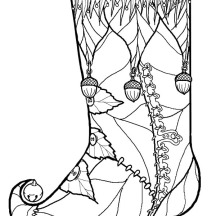 Christmas Stockings Decorated with Pine Fruit Coloring Pages