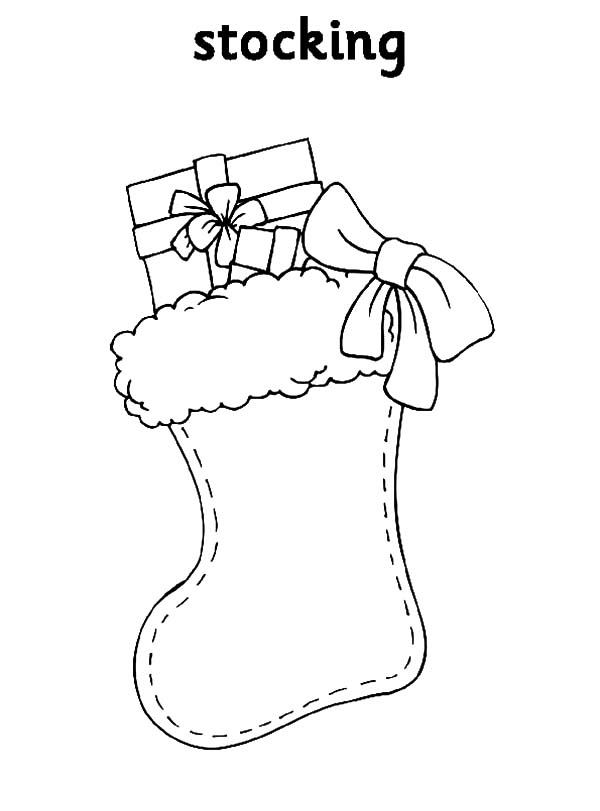 Christmas Stockings with Christmas Present Coloring Pages