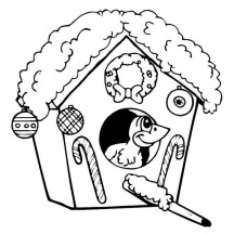 Christmas Themed Bird House on Winter Season Coloring Page