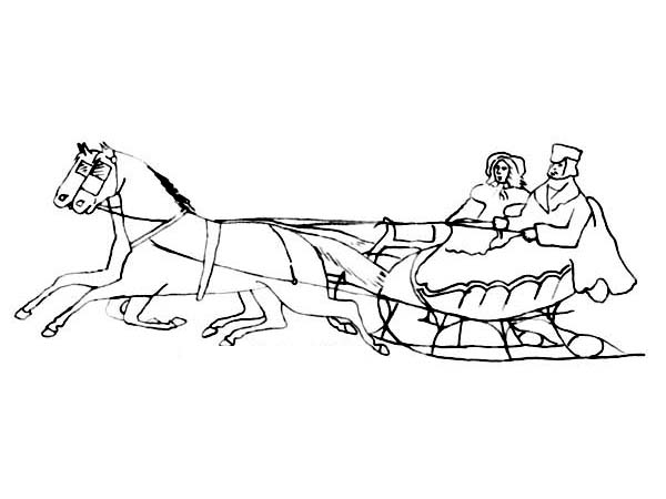 Colonial Style Couple on Sleigh Ride Coloring Page