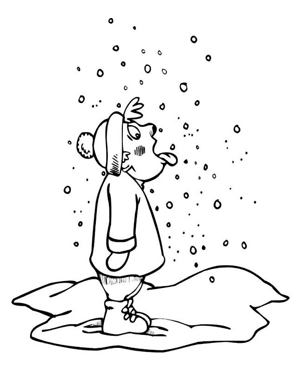 Curious Man Tasting Snow on Winter Season Coloring Page