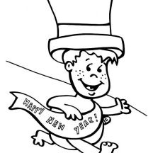 Cute Baby New Year Getting Late on 2015 New Year Coloring Page