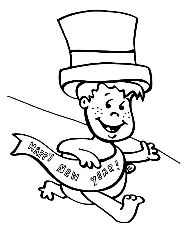 baby new year coloring pages free | Cute Baby New Year Getting Late on 2015 New Year Coloring ...