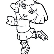 Dora Playing Ice Skates on Winter Season Coloring Page