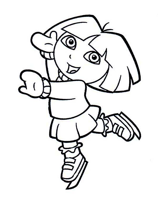 Dora Playing Ice Skates on Winter Season Coloring Page