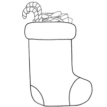 Drawing Christmas Stockings Fill with Candy Cane Coloring Pages