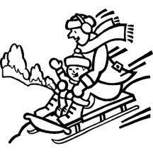 Father and Son Playing Winter Season Sled Coloring Page