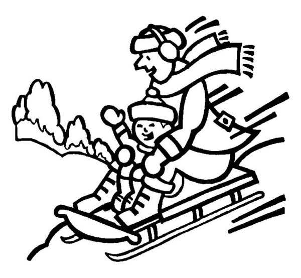 Mr Snowman On Christmas Touching A Snowflake Coloring Page: Father And Son Playing Winter Season Sled Coloring Page