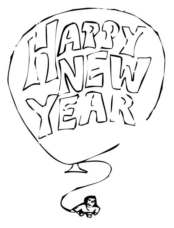 Giant Balloon with New Years Eve Message on 2015 New Year Coloring Page