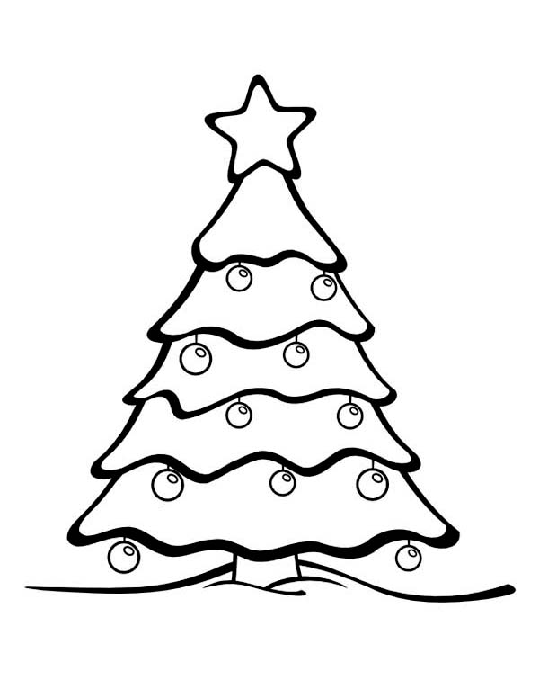 Gorgeous Christmas Tree on Winter Season Coloring Page Coloring Page