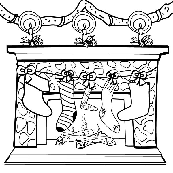 Hanging Christmas Stockings in Fornt of Chimney Coloring Pages