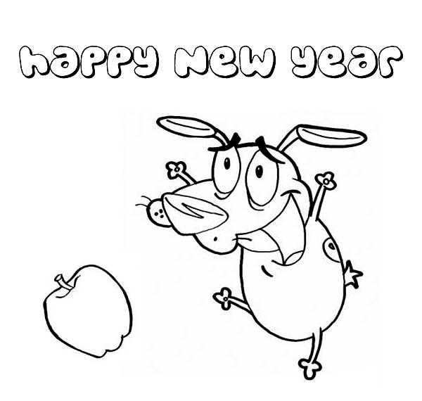 Hilarious Dog Dancing on 2015 New Year Coloring Page