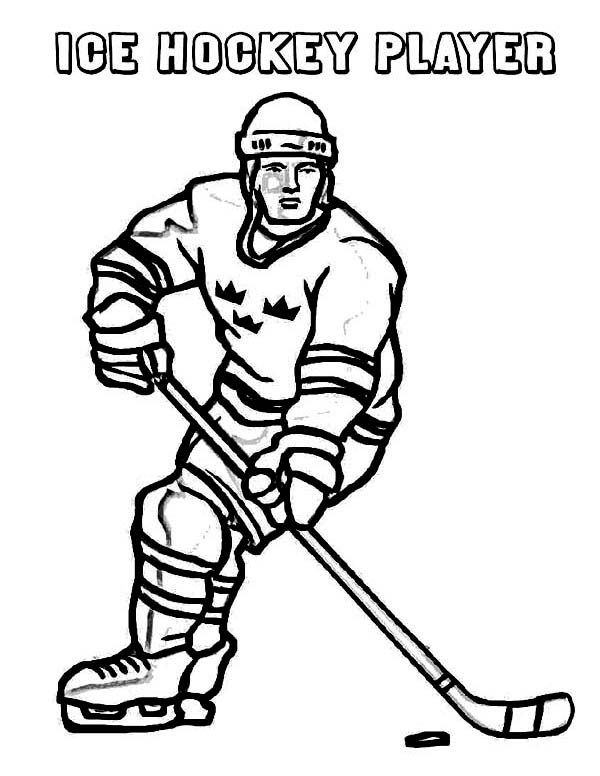 Hockey Player on Winter Season Sport Coloring Page