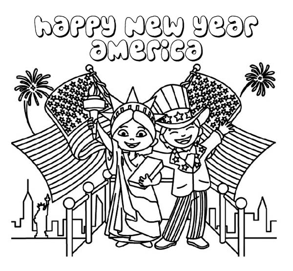 Joyful and Happy New Year to USA on 2015 New Year Coloring Page