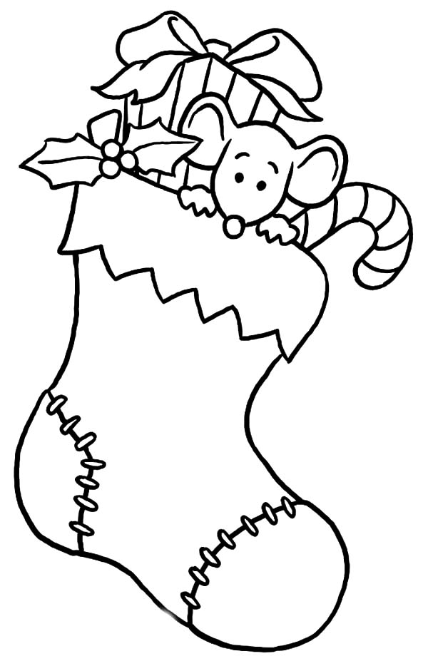 Little Mouse is Afraid to Come Down from Christmas Stockings Coloring Pages
