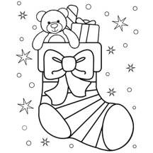 Little Teddy Bear in Christmas Stockings Coloring Pages