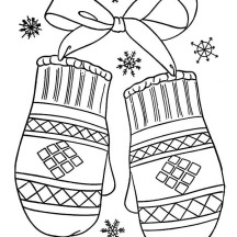 Lovely Mittens Gift for Winter Season Coloring Page