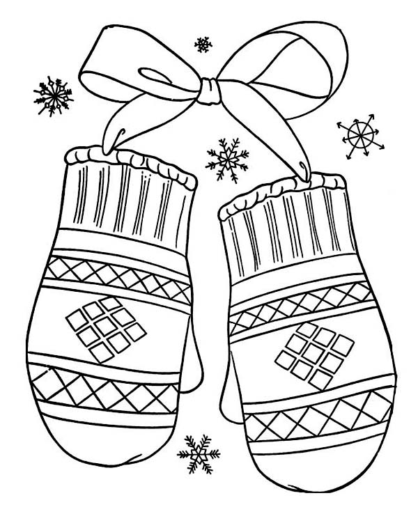 large coloring pages for mittens | Lovely Mittens Gift for Winter Season Coloring Page - NetArt