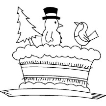Mr Snowman Cake Decoration for Winter Season Event Coloring Page