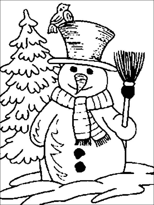 Mr Snowman Figure on the Open Winter Season Field Coloring Page