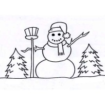 Mr Snowman on the Field During Winter Season Coloring Page