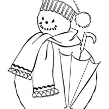 Mr Snowman with Scraf and Umbrella Coloring Page