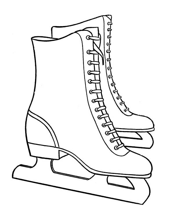 Pair of Nice Winter Season Skate Boots Coloring Page