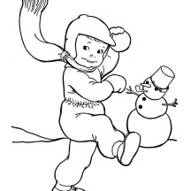 Snowball Fight on Winter Season Outdoor Activity Coloring Page