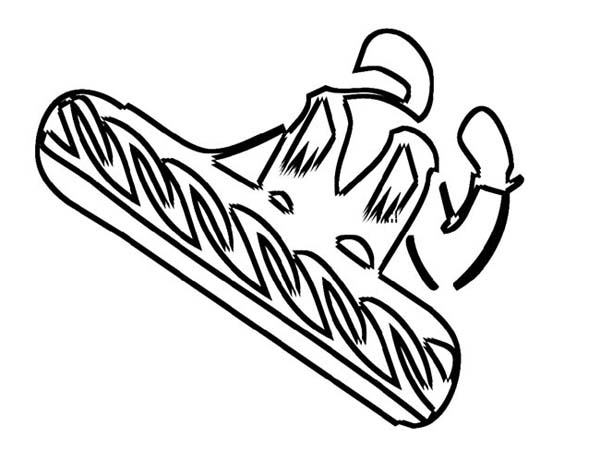Snowboard Activity on Winter Season Coloring Page