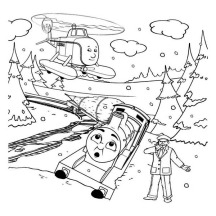 Thomas Getting Trap on Heavy Winter Season Storm Coloring Page