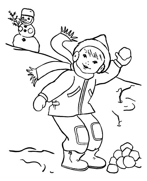 Throwing Snowball on Snowball Fight During Winter Season Coloring Page