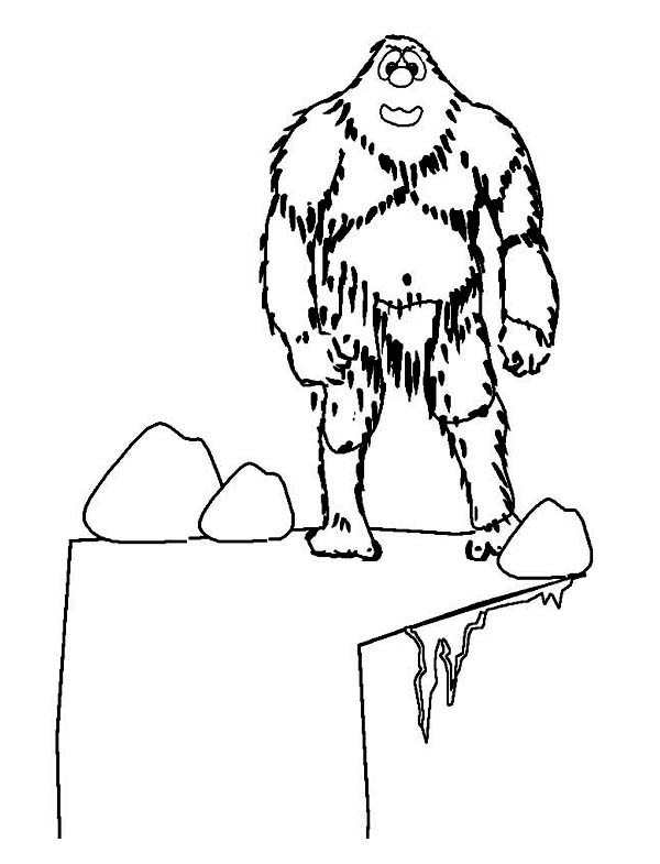 Ugly Yetti at the Cliff on Winter Season Coloring Page
