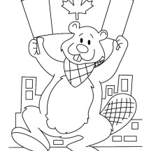 A Canadian Beaver with Canada Flag on Memorable Canada Day Coloring Pages