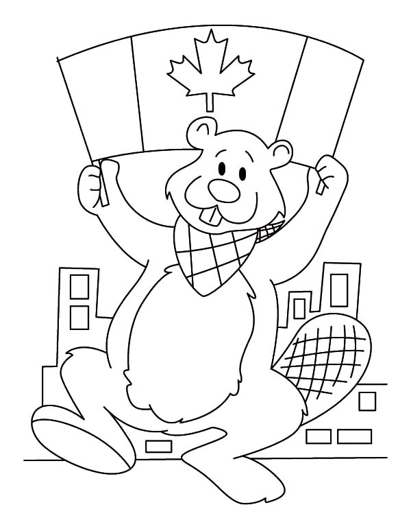 - A Canadian Beaver With Canada Flag On Memorable Canada Day Coloring Pages -  NetArt