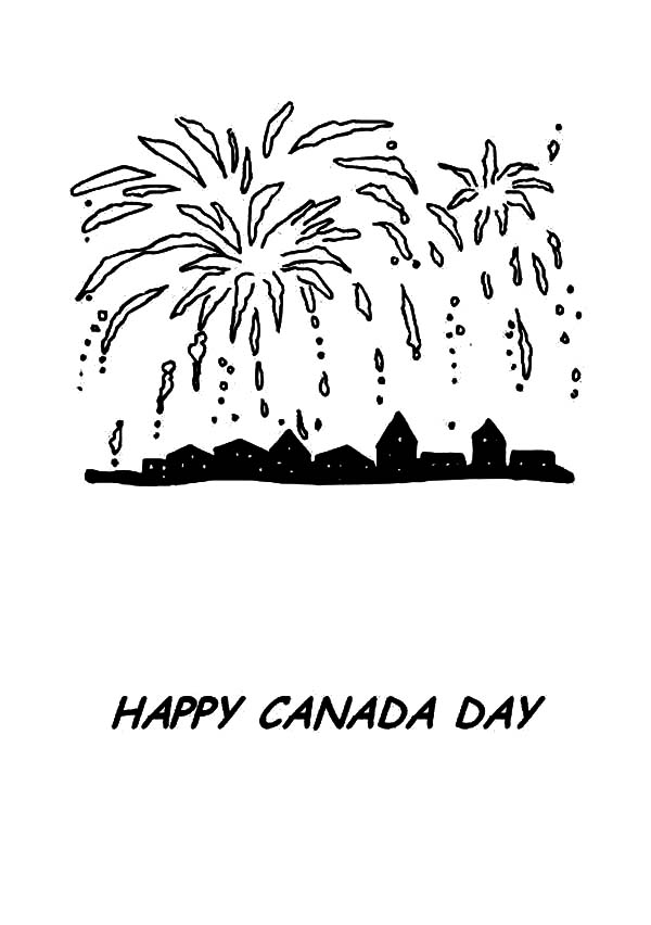 Amazing Fireworks on Memorable Canada Day Coloring Pages