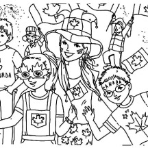Bunch of Kids Celebrating  Memorable Canada Day Coloring Pages