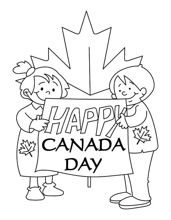 Couple of Kids Making Sign for Memorable Canada Day Coloring Pages