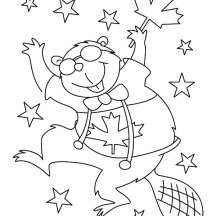 Hilarious Canadian Beaver Dancing on Memorable Canada Day Coloring Pages