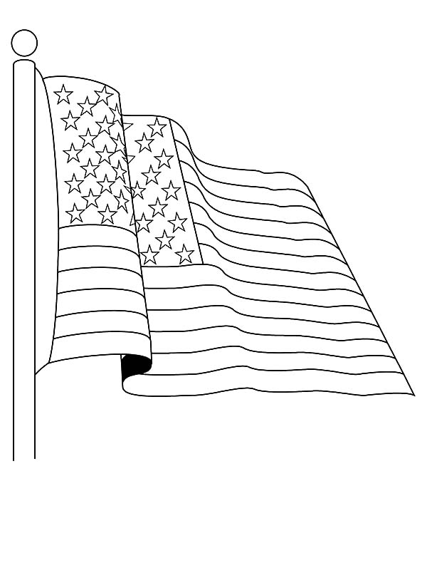 Salute to USA Flag for Independence Day Event Coloring Pages