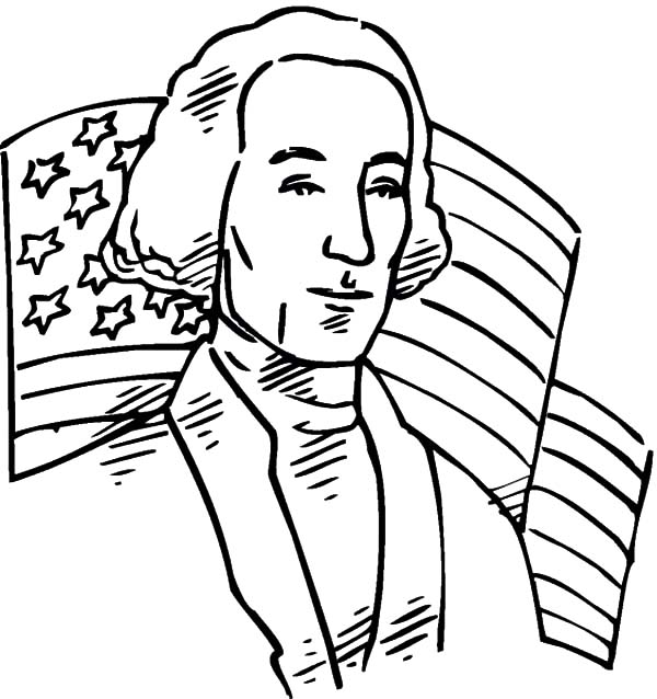 USA Flag Behind US 1st President for Independence Day Event Coloring Pages