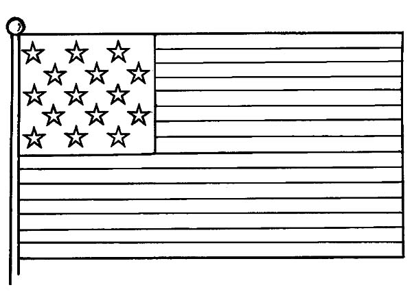 USA Flag Image for Independence Day Event Coloring Pages