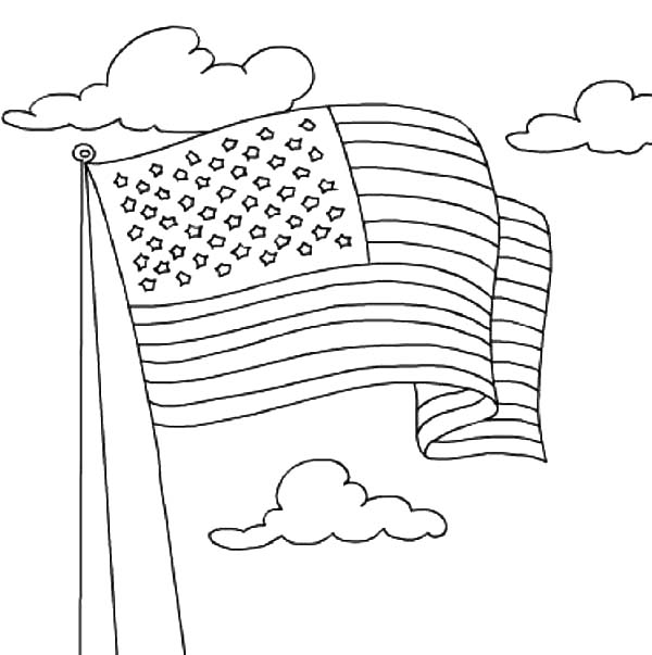 usa flag waving on independence day event coloring pages