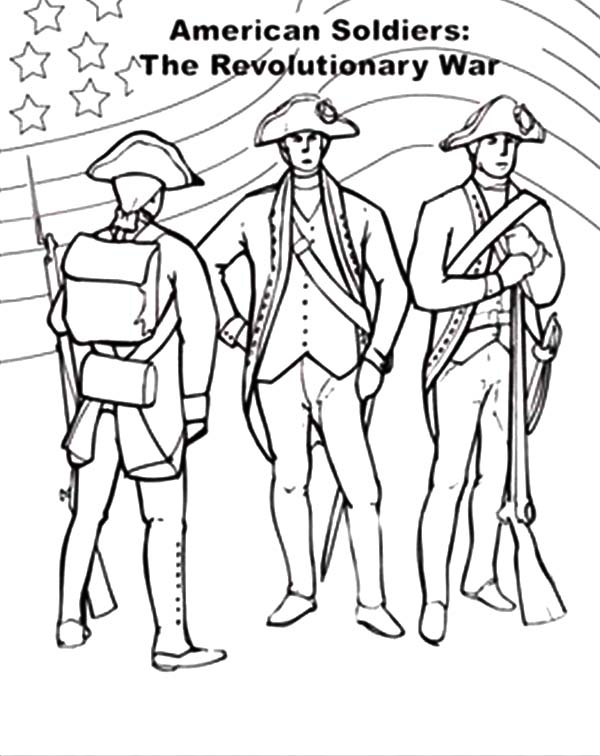 USA Flag on Revolutionary War for Independence Day Event Coloring Pages