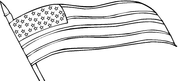 Waving USA Flag for Independence Day Event Coloring Pages