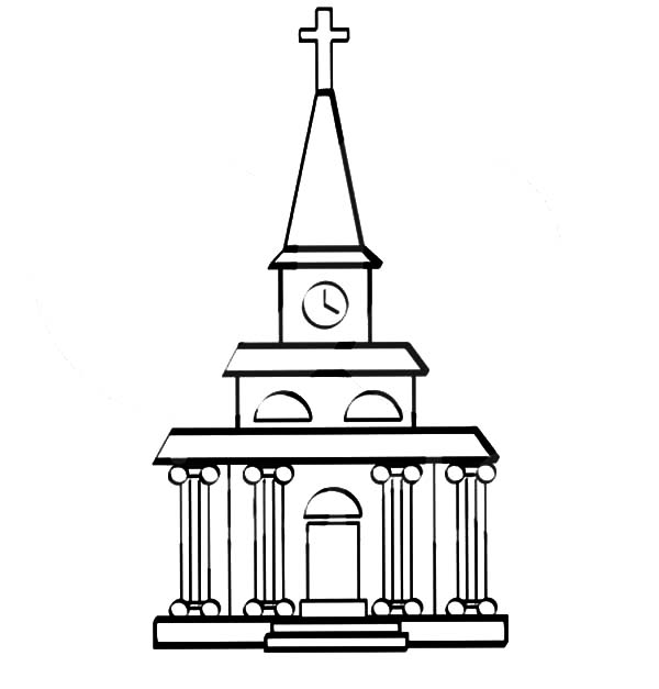 A Church Facade with a Clock Tower Coloring Pages
