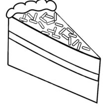 A Slice of Chocolate Cake with Choco Sprinkles Coloring Pages