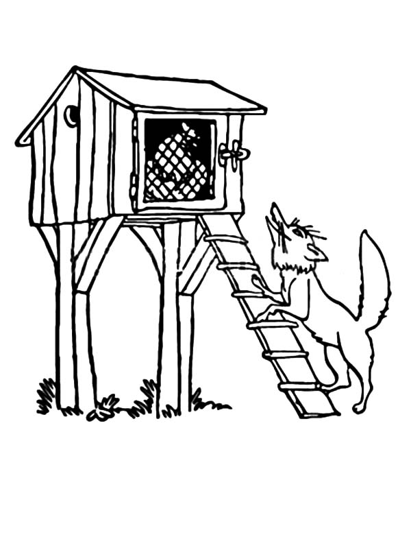 A Wolf Standing Under Chicken Coop Coloring Pages