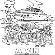 Alvin and Chipmunk Taking Picture with Cruise Ship Coloring Pages
