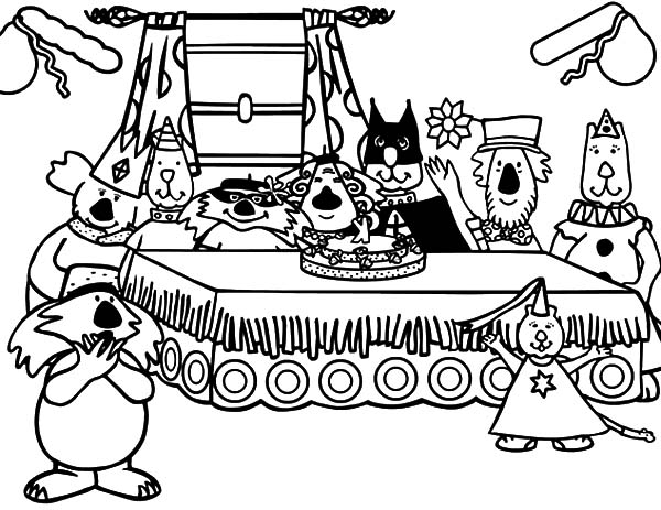 Animals Birthday Party Coloring Pages